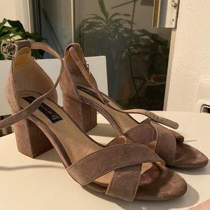 Tan Suede Low Heel Sandal for Fall